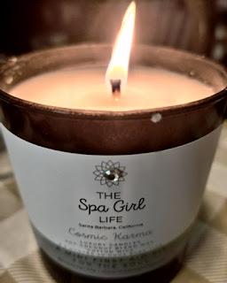 the spa girl life candle cosmic karma set lit