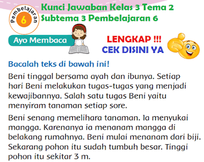 Kunci Jawaban Kelas 3 Tema 2 Subtema 3 Pembelajaran 6 www.simplenews.me