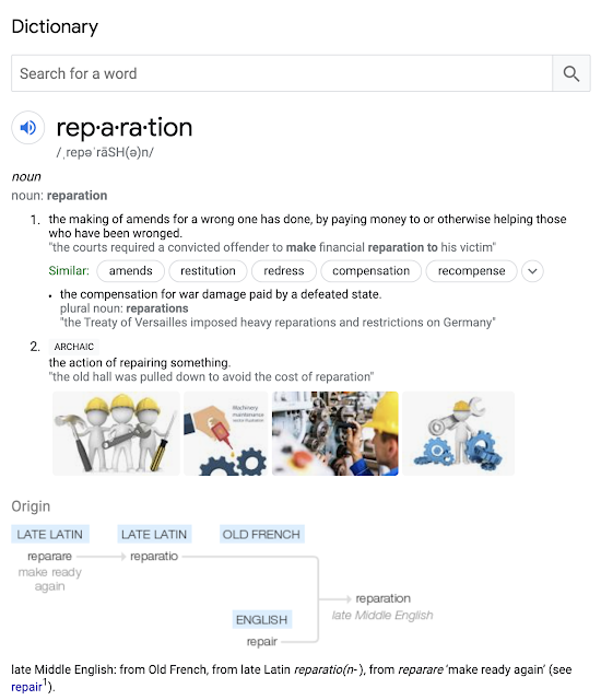 "Google results of ""reparations"""