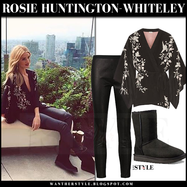 Rosie Huntington-Whiteley in black floral kimono talitha, black leather pants the perfext and black UGG boots what she wore