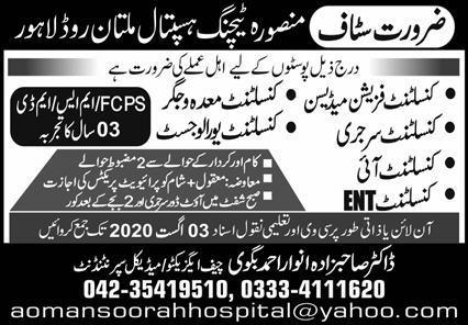 Mansoora Teaching Hospital Lahore Jobs