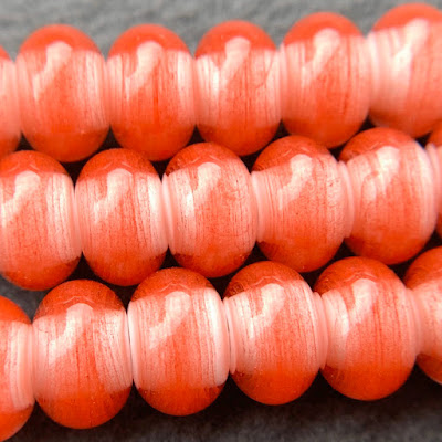 Handmade lampwork glass beads in CiM Watermelon by Laura Sparling