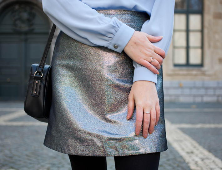 & other stories silver holo skirt