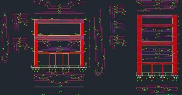 تحميل ملف تسليح وتفريد حديد مجموعة مختلفة من الفريمات الخرسانية Rc Frames بصيغة اوتوكاد Dwg