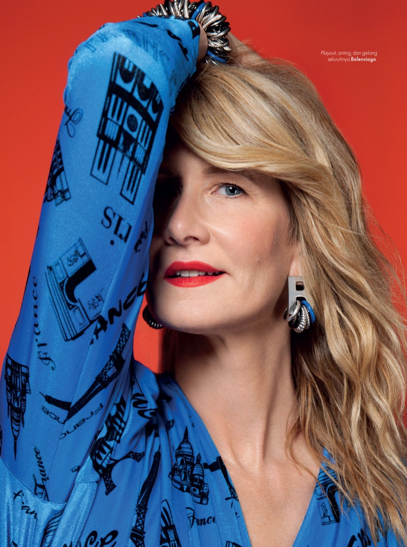 Laura Dern sports Balenciaga jumpsuit and jewelry