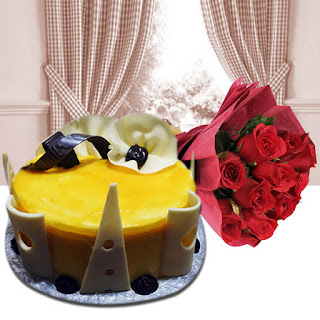 Yummy Mango Cake with Red Roses