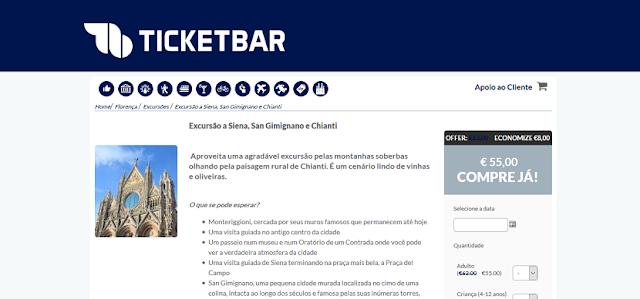 Tickebar para ingressos para excursão na Toscana
