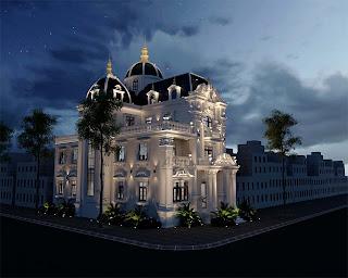 Phối cảnh ban đêm của biệt thự lâu đài