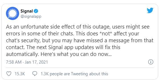 signal app error issue update tweet