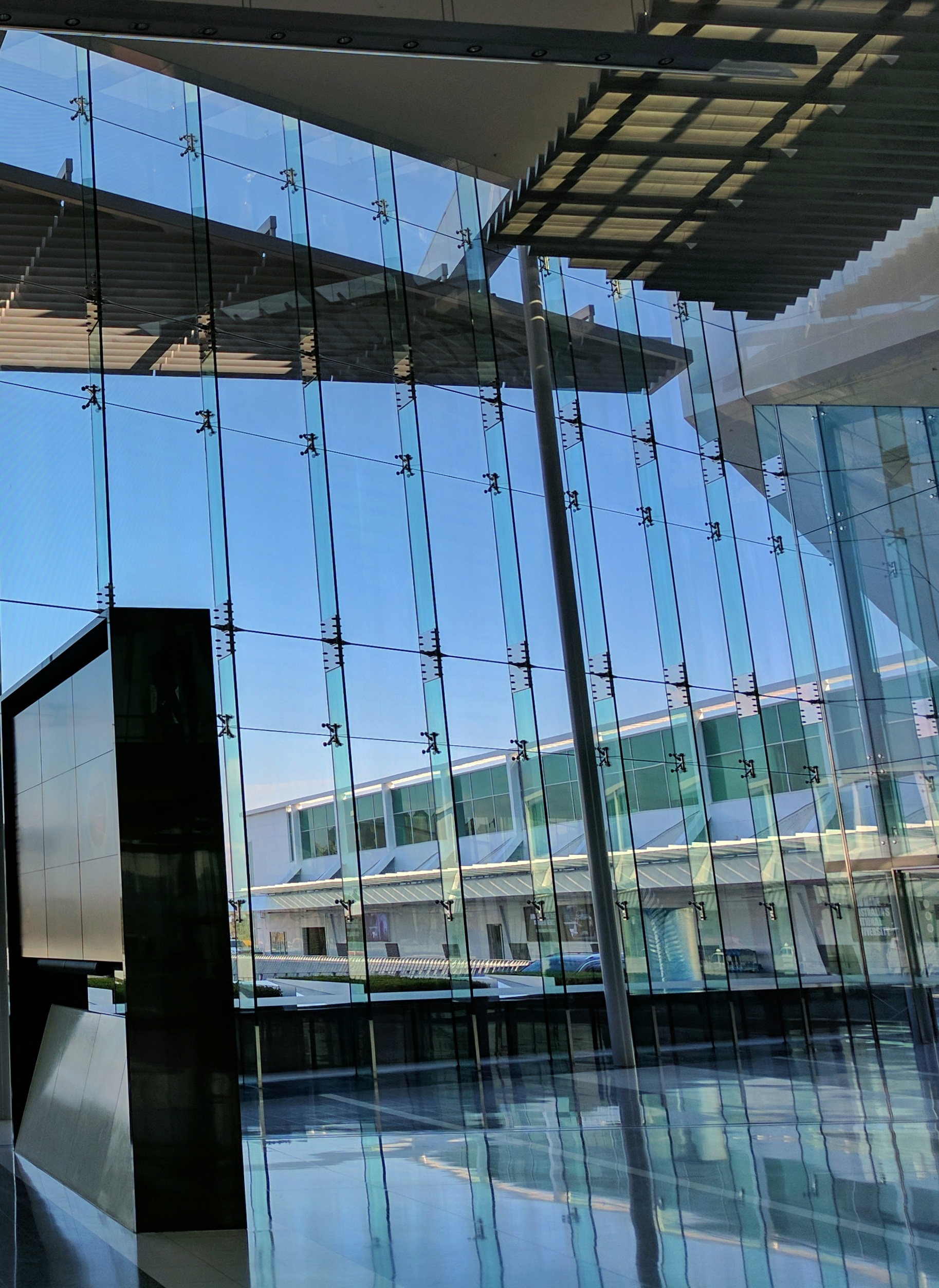 Large glass wall at Canberra airport