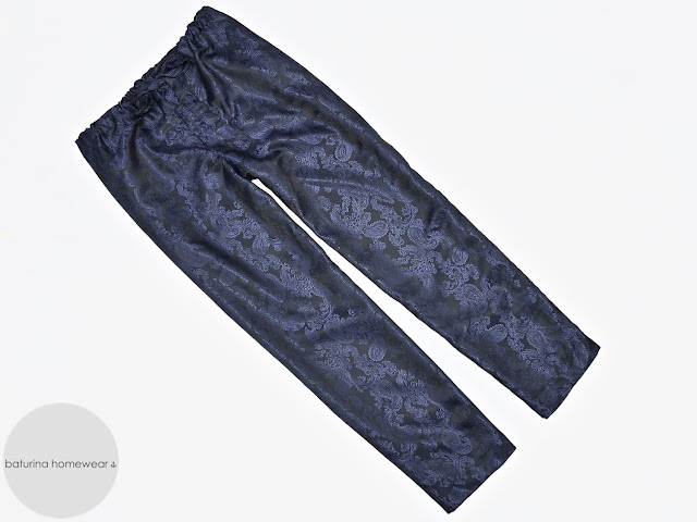 Mens navy blue paisley silk pajamas pants ankle length lounge trousers long pajamas bottoms
