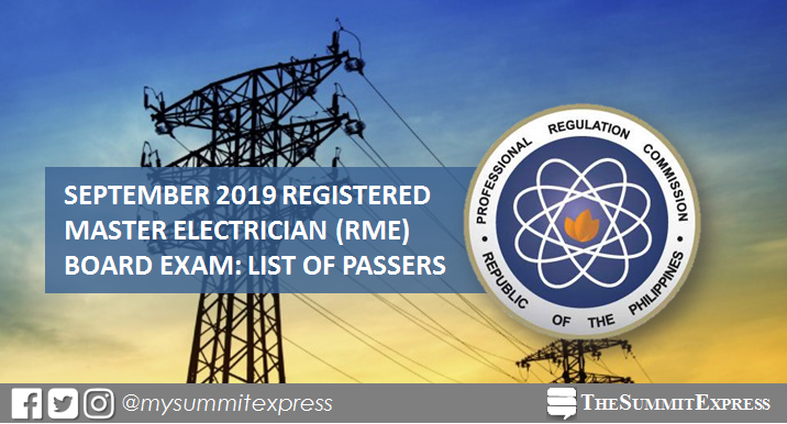 RME Passers: September 2019 Registered Master Electrician board exam result