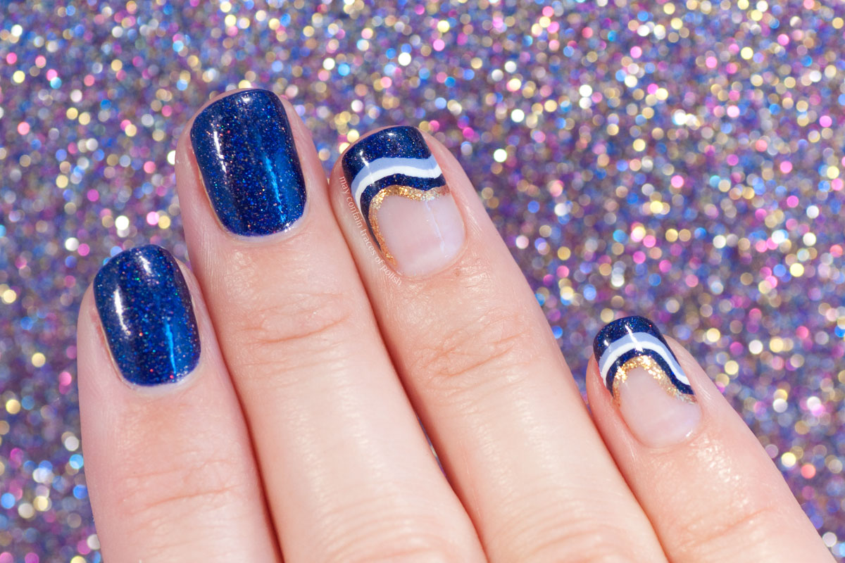 Wavy Stripes Nail Art with FUN Lacquer Moonlight Nocture