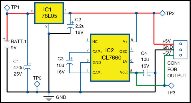 icl7660 and ic 78l05 based plus minus 5v 0v 5v supply from 9v batteryIcl7660 Dc To Dc Converter Input 5v To Output 5v #11