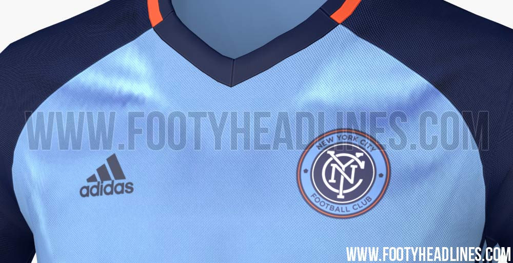 5165c90c4 The New York City 2016 MLS Training Kit boasts the club s sky blue with  navy and orange