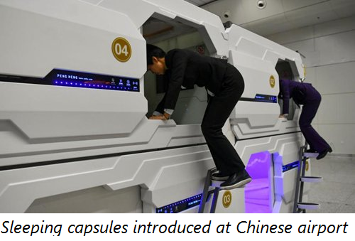 Sleeping capsules introduced at Chinese airport