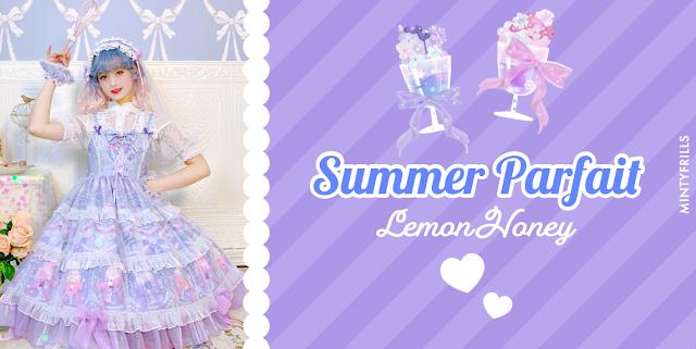 Summer Parfait - Lemon Honey sweet lolita print dress
