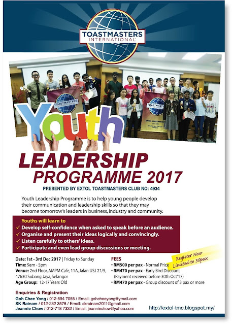 EXTOL TOASTMASTERS CLUB - YOUTH LEADERSHIP PROGRAMME