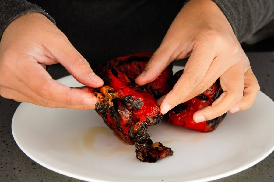 Peel off the membrane of Charred capsicum