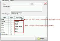 Langkah 3 : Cara Mengisi Jendela Jam Kerja Normal Fingerspot Personnel