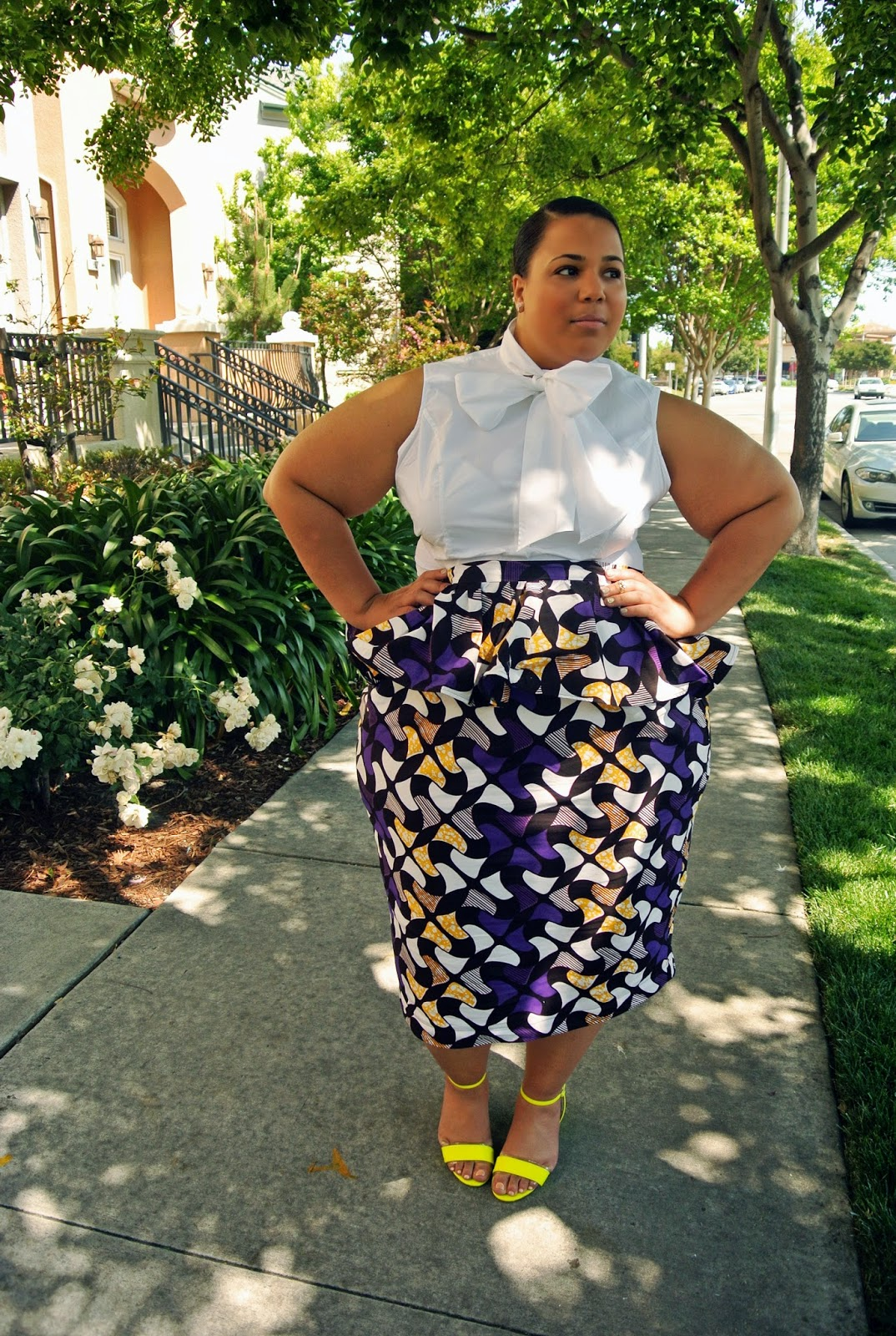 Plus Size african print, bow blouse, plus size blog