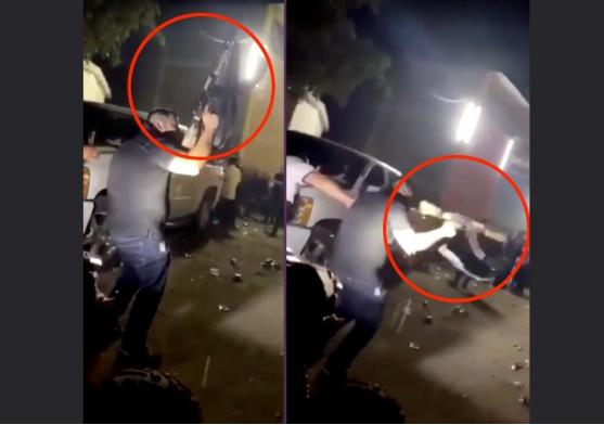 """VIDEO.- En una Narcofiesta Sicario borracho detona su """"Cuerno de Chivo"""" y por poco mata a sus amigos que se encontraban en la borrachera"""