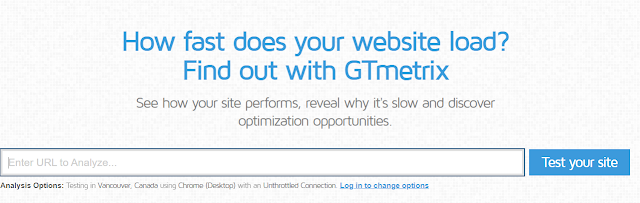 GTmetrix - اختبار وقت تحميل الصفحة