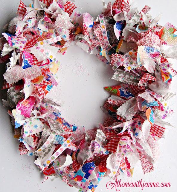 rag, wreath, handmade, fabric, decorating, Valentine, decor, easy, athomewithjemma
