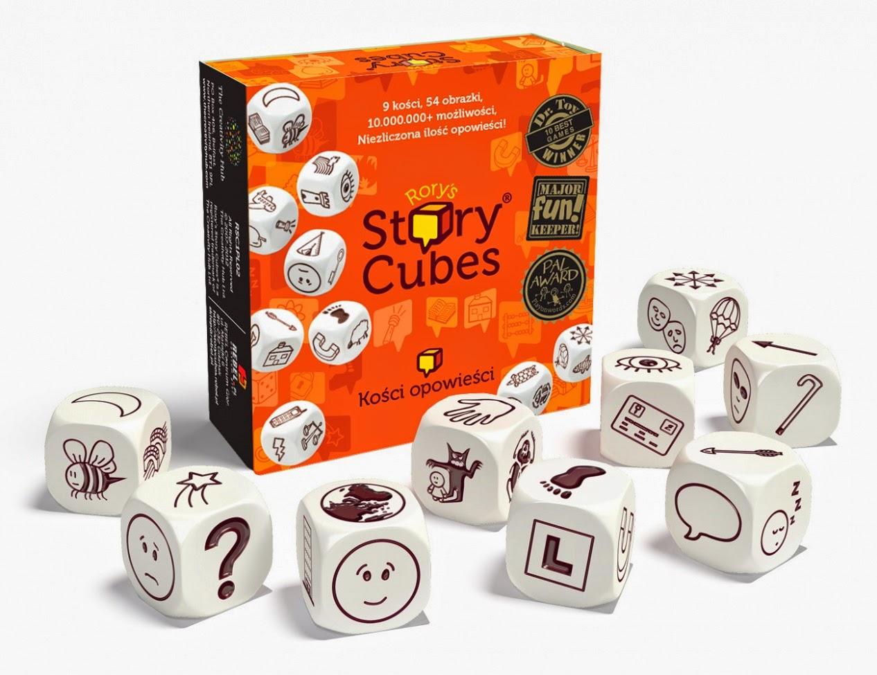 Rory's Story Cubes, storytelling, ćwiczenie opowiadania, sztuka opowieści, recenzja, warsztaty, Baśnie na Warsztacie, Mateusz Świstak