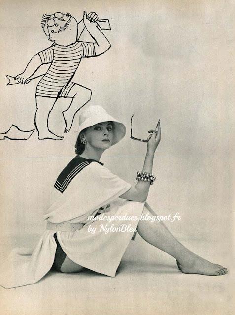 A la Plage le jardinier vous donne l exemple   portez un maillot rayé d une  seule pièce, et sur ce maillot, après le bain, ce poncho d Hubert de  Givenchy en ... 5f19ebbf705