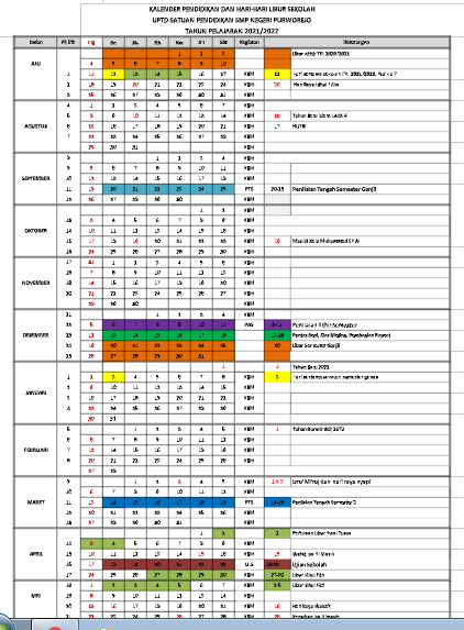 kalender pendidikan provinsi lampung TP 2021/2022