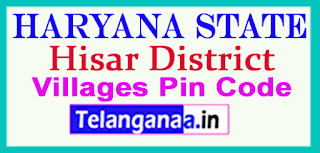 Hisar District Pin Codes in Haryana State