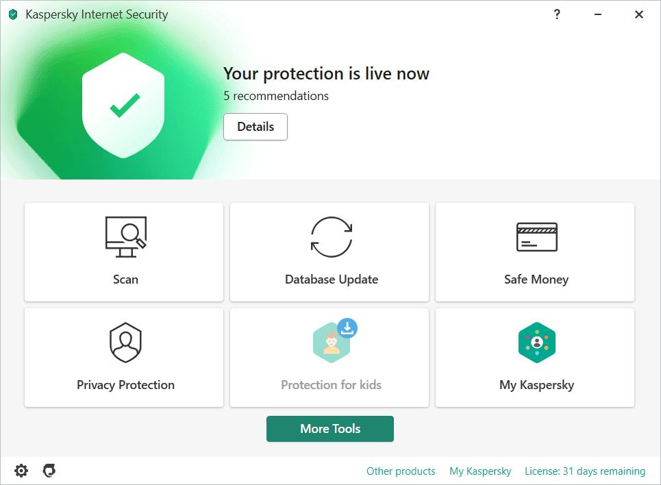 Kaspersky Internet Security Main Interface Screenshot