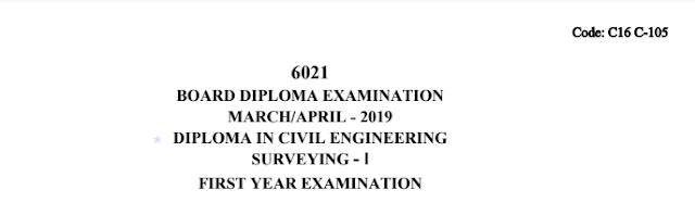 Sbtet Previous Question Paper c16 Civil 105 Surveying-1 March/April 2019
