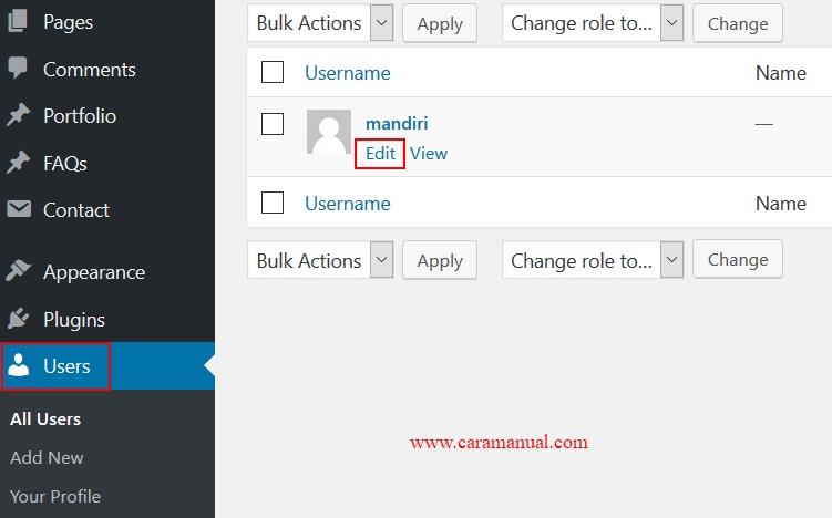 Edit User Admin WordPress