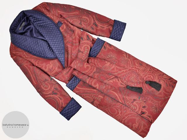herren hausmantel paisley klassischer englischer morgenmantel dressing gown gesteppt seide weinrot dunkelrot dunkelblau