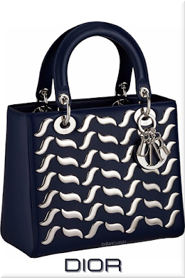 ♦Dior Lady Dior sapphire blue top handle calfskin bag with silver shaped metallic wave studs and Dior charms #dior #bags #ladydior #brilliantluxury