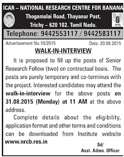 National Research Centre for Banana (NRCB) Trichy Walk in Interview for SRF