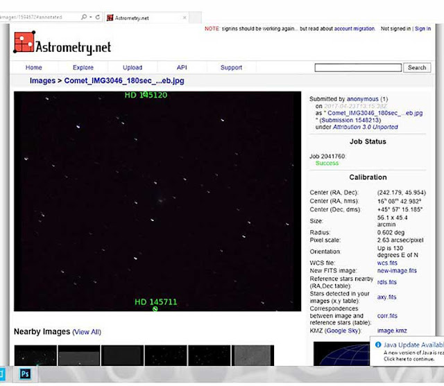 Using astrometry.net to verify background stars and comet Johnson C/2016 V2 (Source: Palmia Observatory)