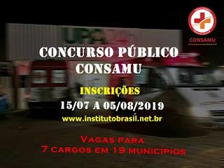 Edital concurso CONSAMU - Consórcio Intermunicipal SAMU Oeste / PR