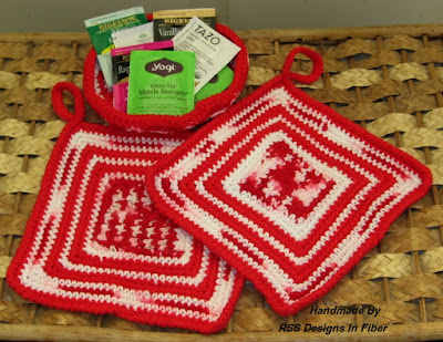 Red and White Potholder and Basket Set - By Ruth Sandra Sperling at RSS Designs In Fiber