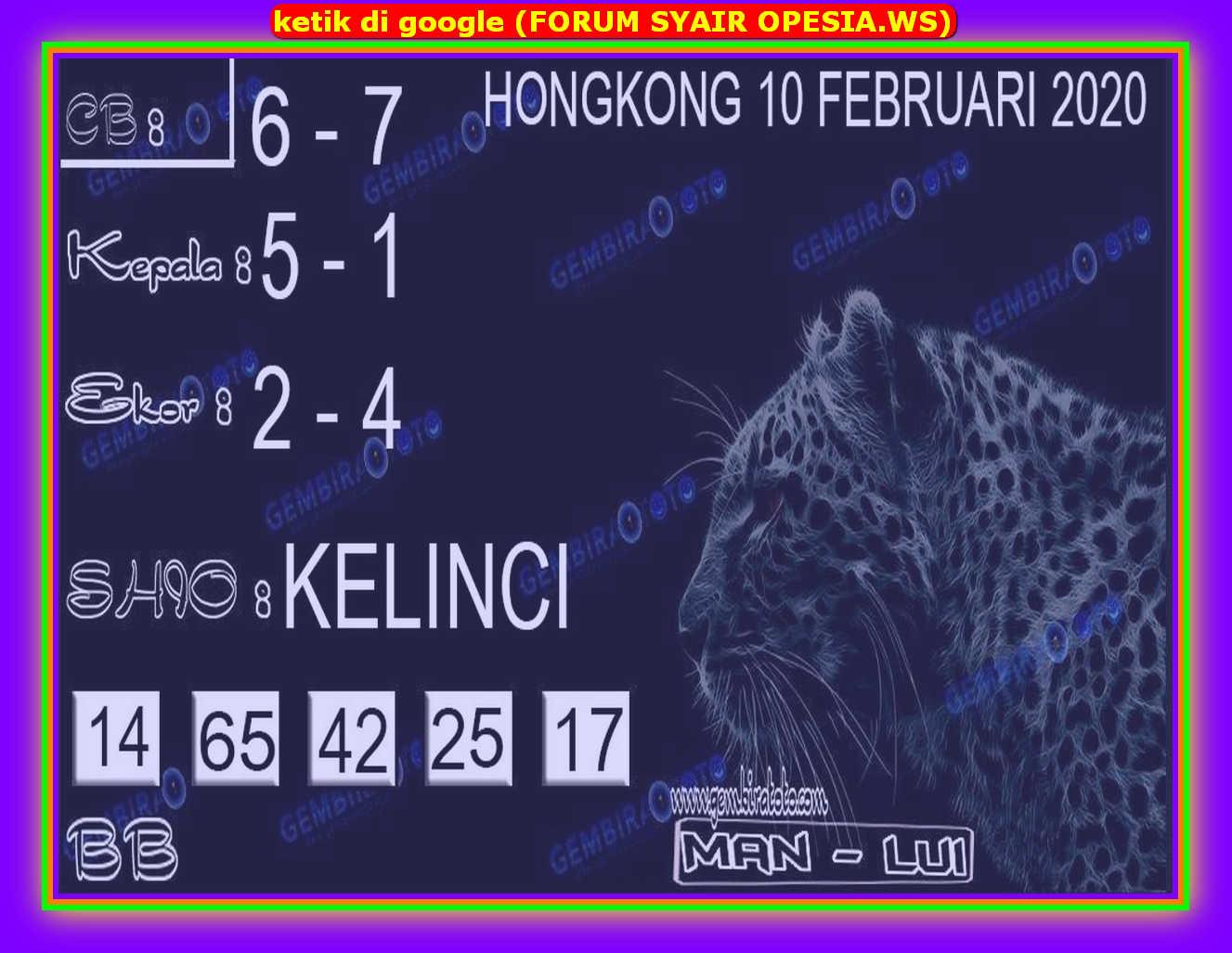 Kode syair Hongkong Senin 10 Februari 2020 122