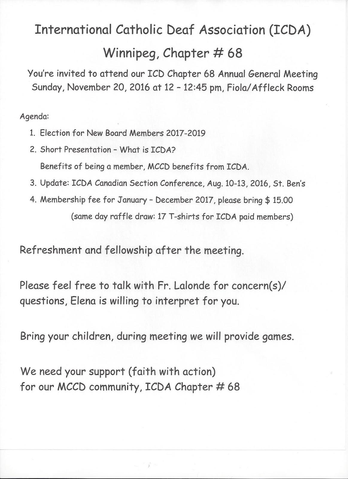 Deaf Centre Manitoba Inc : International Catholic Deaf