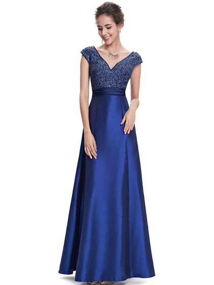 V-neck Satin Ankle-length Beading Cap Straps Fashion Prom Dress