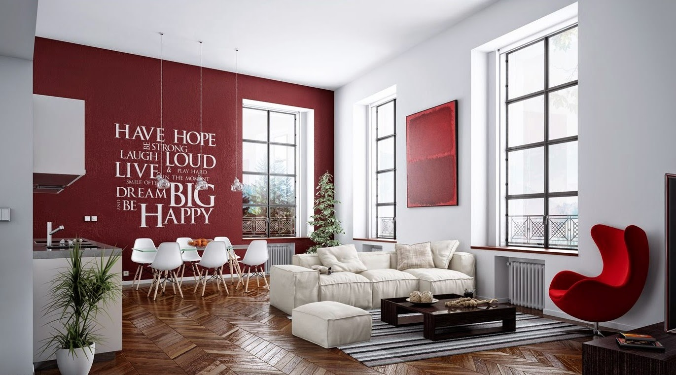 Feng shui red color - Red walls in living room ...
