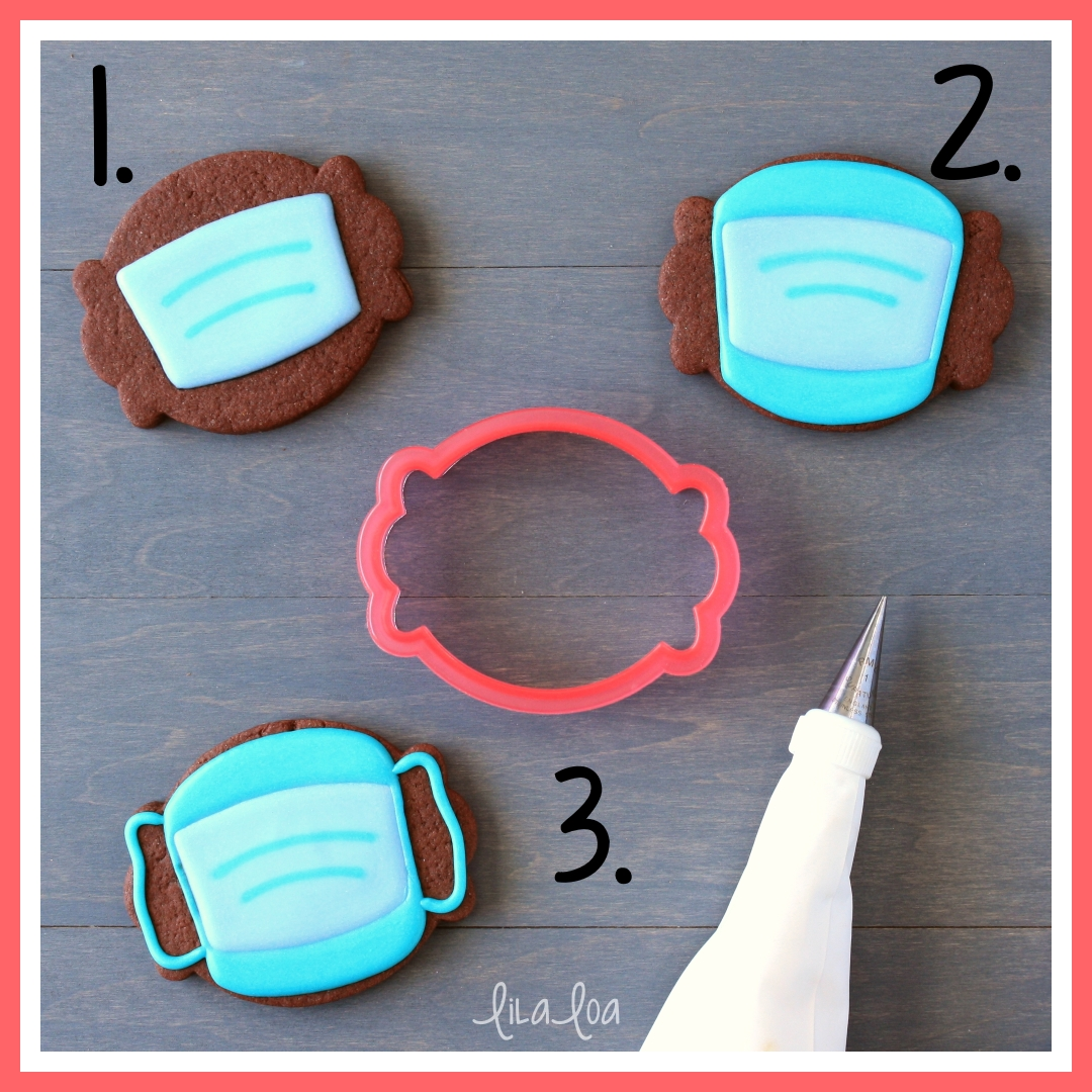 Step by step cookie decorating tutorial for nurse or doctor surgical face mask decorated sugar cookies