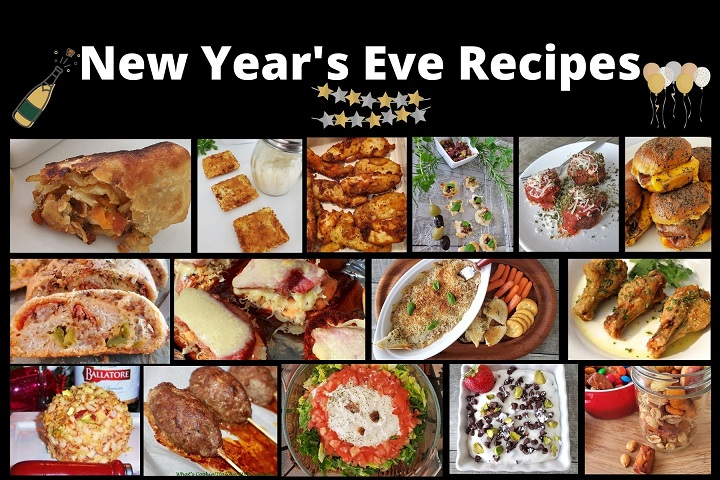 this is a collage of new years eve appetizers