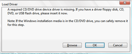 حل مشكلة a required cddvd drive device driver is missing