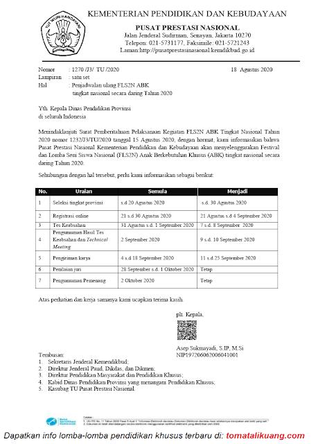 Perubahan Jadwal FLS2N ABK Tingkat Nasional Secara Daring Tahun 2020 tomatalikuang.com