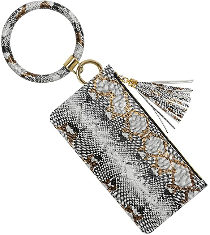 50% OFF Key Ring Bracelet with Phone Wallet(ONLY White Snakeskin)